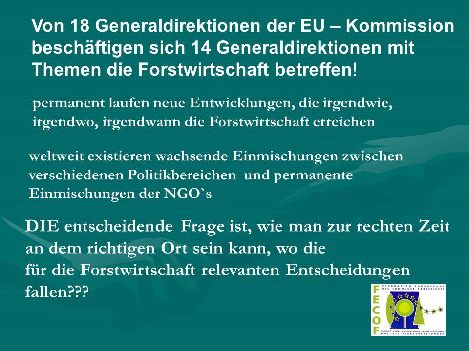 Von 18 Generaldirektionen der EU – Kommission beschäftigen sich 14 Generaldirektionen mit Themen die Forstwirtschaft betreffen! permanent laufen neue