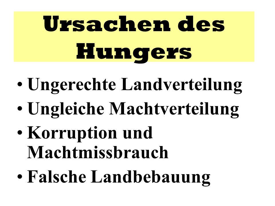 Ursachen des Hungers Ungerechte Landverteilung Ungleiche Machtverteilung Korruption und Machtmissbrauch Falsche Landbebauung