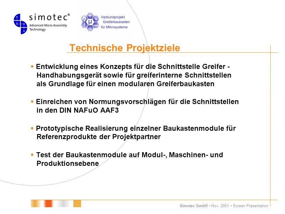Simotec GmbH Nov. 2001 Screen Präsentation Technische Projektziele  Entwicklung eines Konzepts für die Schnittstelle Greifer - Handhabungsgerät sowie