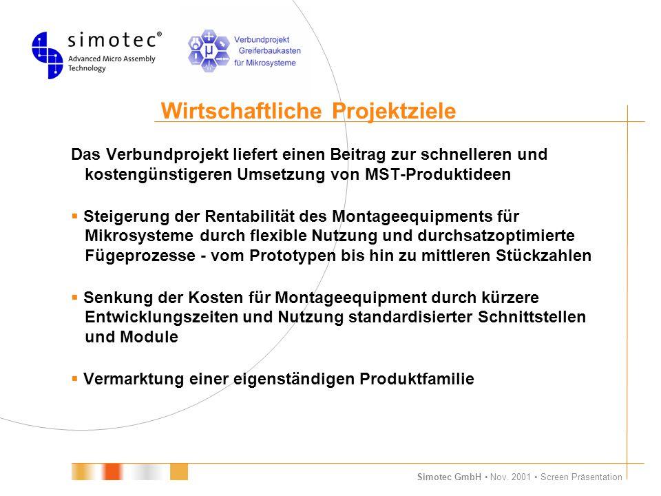 Simotec GmbH Nov. 2001 Screen Präsentation Wirtschaftliche Projektziele Das Verbundprojekt liefert einen Beitrag zur schnelleren und kostengünstigeren