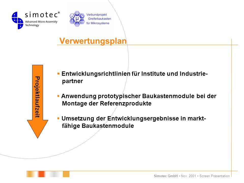 Simotec GmbH Nov. 2001 Screen Präsentation Verwertungsplan  Entwicklungsrichtlinien für Institute und Industrie- partner  Anwendung prototypischer B