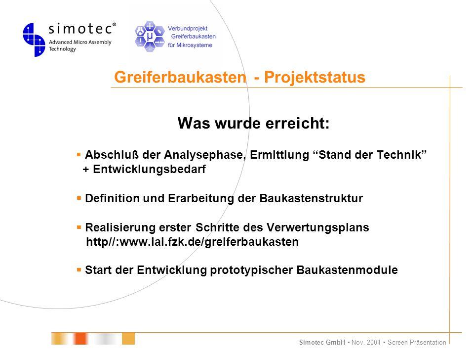 """Simotec GmbH Nov. 2001 Screen Präsentation Greiferbaukasten - Projektstatus Was wurde erreicht:  Abschluß der Analysephase, Ermittlung """"Stand der Tec"""