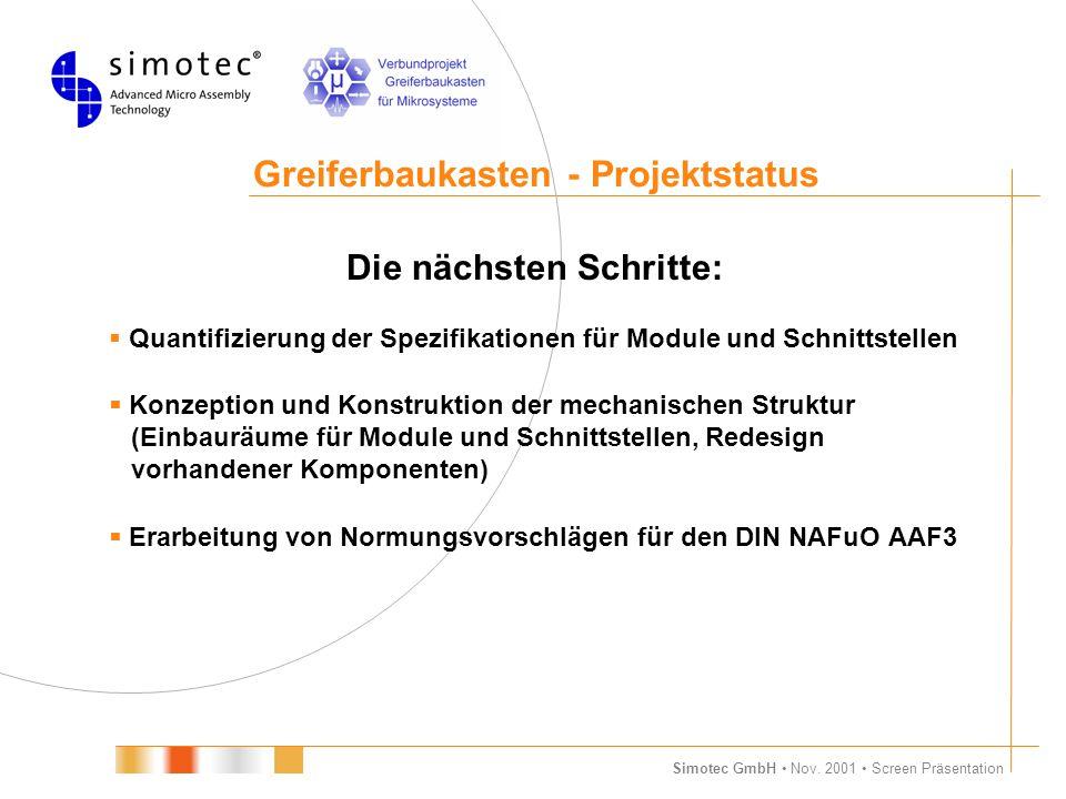 Simotec GmbH Nov. 2001 Screen Präsentation Greiferbaukasten - Projektstatus Die nächsten Schritte:  Quantifizierung der Spezifikationen für Module un