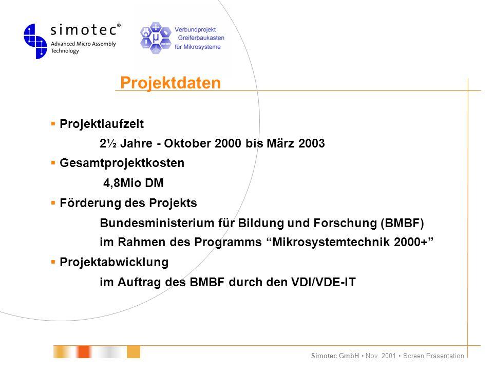 Simotec GmbH Nov. 2001 Screen Präsentation Projektdaten  Projektlaufzeit 2½ Jahre - Oktober 2000 bis März 2003  Gesamtprojektkosten 4,8Mio DM  Förd