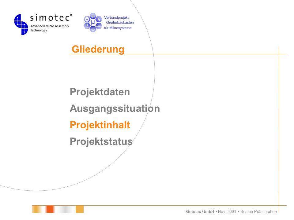 Simotec GmbH Nov. 2001 Screen Präsentation Gliederung Projektdaten Ausgangssituation Projektinhalt Projektstatus 