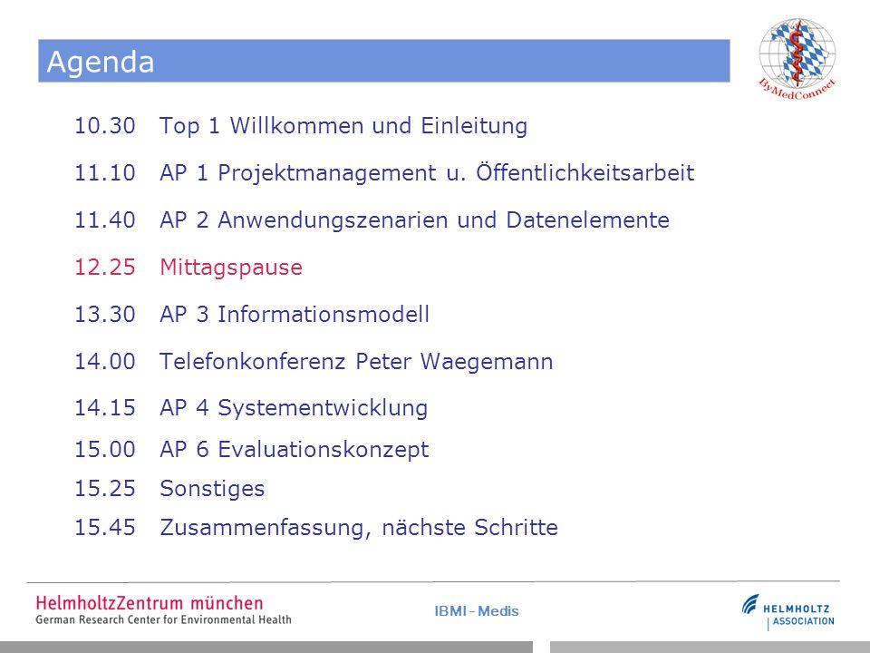 IBMI - Medis Agenda 10.30 Top 1 Willkommen und Einleitung 11.10 AP 1 Projektmanagement u.