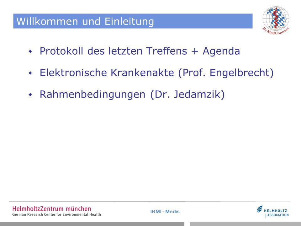 IBMI - Medis Willkommen und Einleitung  Protokoll des letzten Treffens + Agenda  Elektronische Krankenakte (Prof.