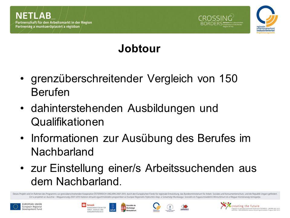 Jobtour grenzüberschreitender Vergleich von 150 Berufen dahinterstehenden Ausbildungen und Qualifikationen Informationen zur Ausübung des Berufes im N