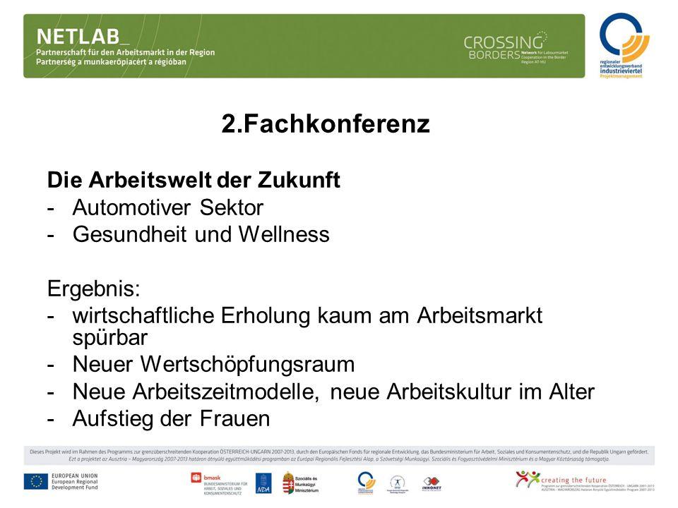 2.Fachkonferenz Die Arbeitswelt der Zukunft -Automotiver Sektor -Gesundheit und Wellness Ergebnis: -wirtschaftliche Erholung kaum am Arbeitsmarkt spür