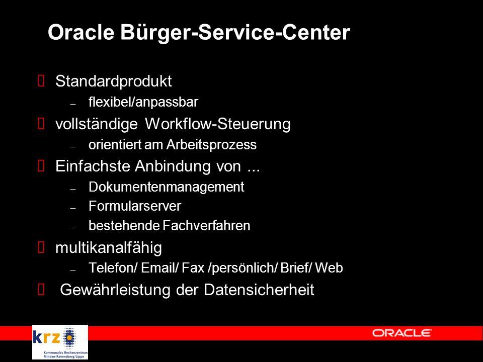 Oracle Bürger-Service-Center  Standardprodukt – flexibel/anpassbar  vollständige Workflow-Steuerung – orientiert am Arbeitsprozess  Einfachste Anbindung von...