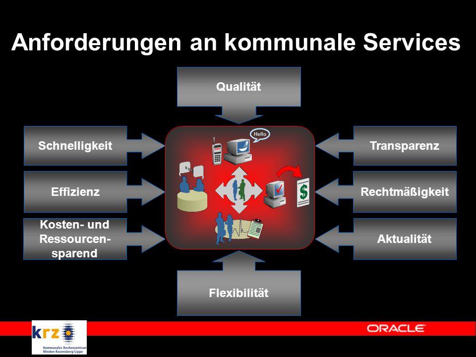 Anforderungen an kommunale Services Schnelligkeit Effizienz Transparenz Rechtmäßigkeit Kosten- und Ressourcen- sparend Qualität Aktualität Flexibilität