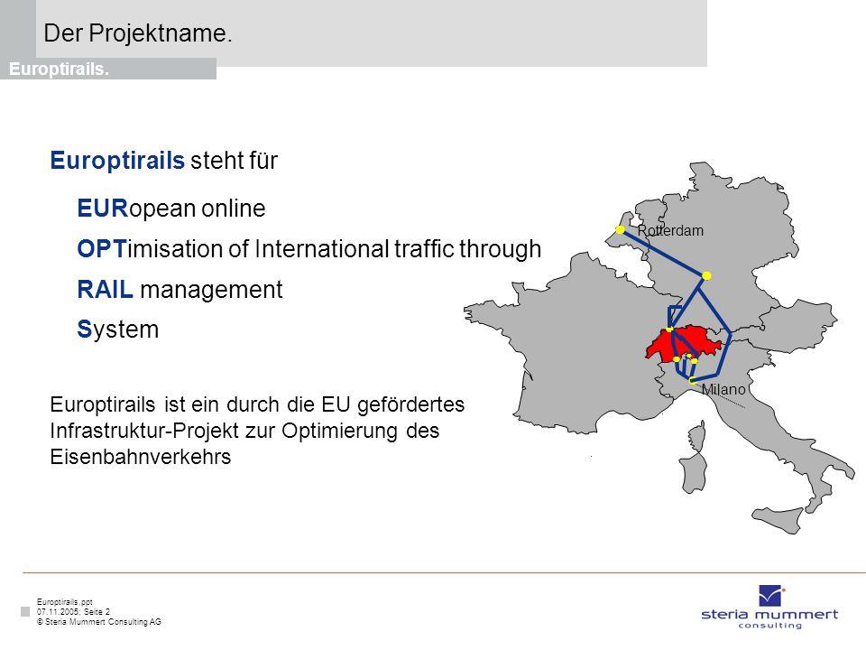 Europtirails.ppt 07.11.2005; Seite 2 © Steria Mummert Consulting AG Der Projektname. Europtirails. Europtirails steht für EURopean online OPTimisation