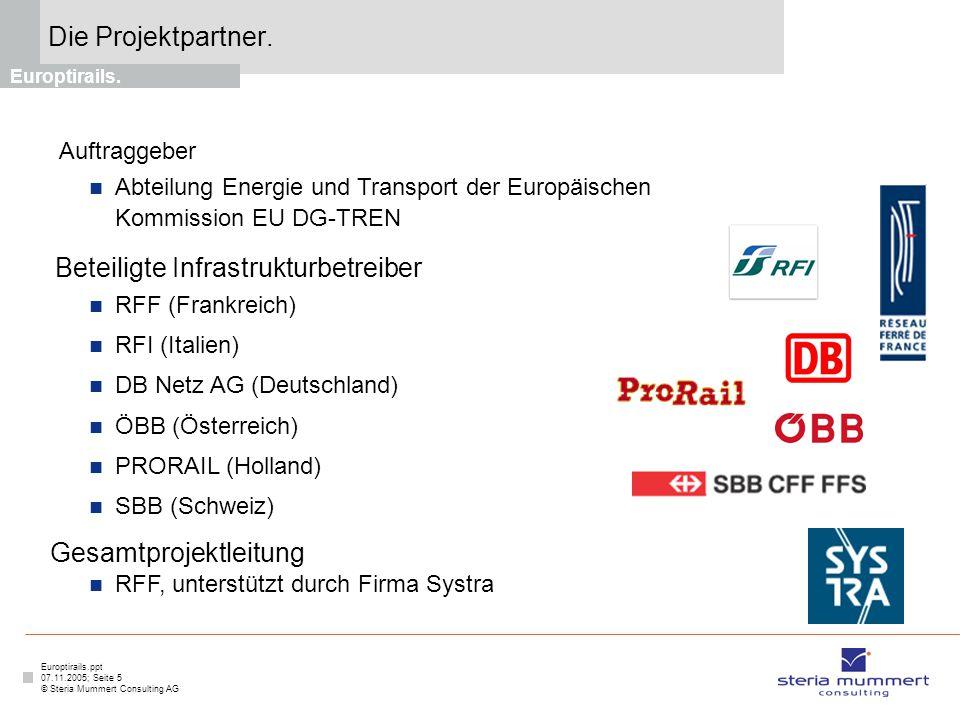 Europtirails.ppt 07.11.2005; Seite 5 © Steria Mummert Consulting AG Die Projektpartner. Europtirails. Auftraggeber Abteilung Energie und Transport der