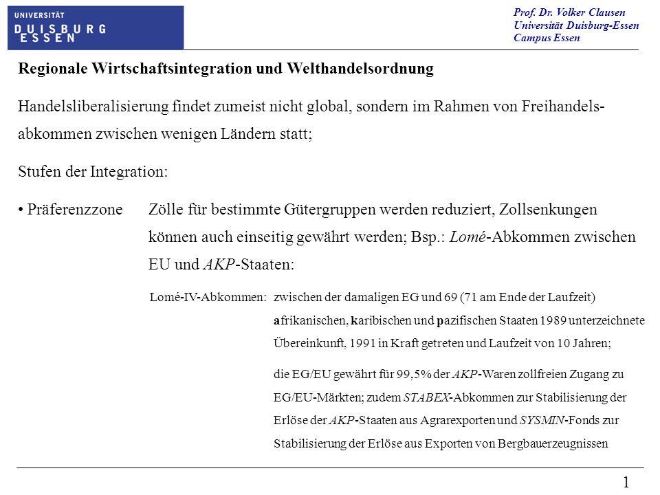 Prof. Dr. Volker Clausen Universität Duisburg-Essen Campus Essen 1 Regionale Wirtschaftsintegration und Welthandelsordnung Handelsliberalisierung find
