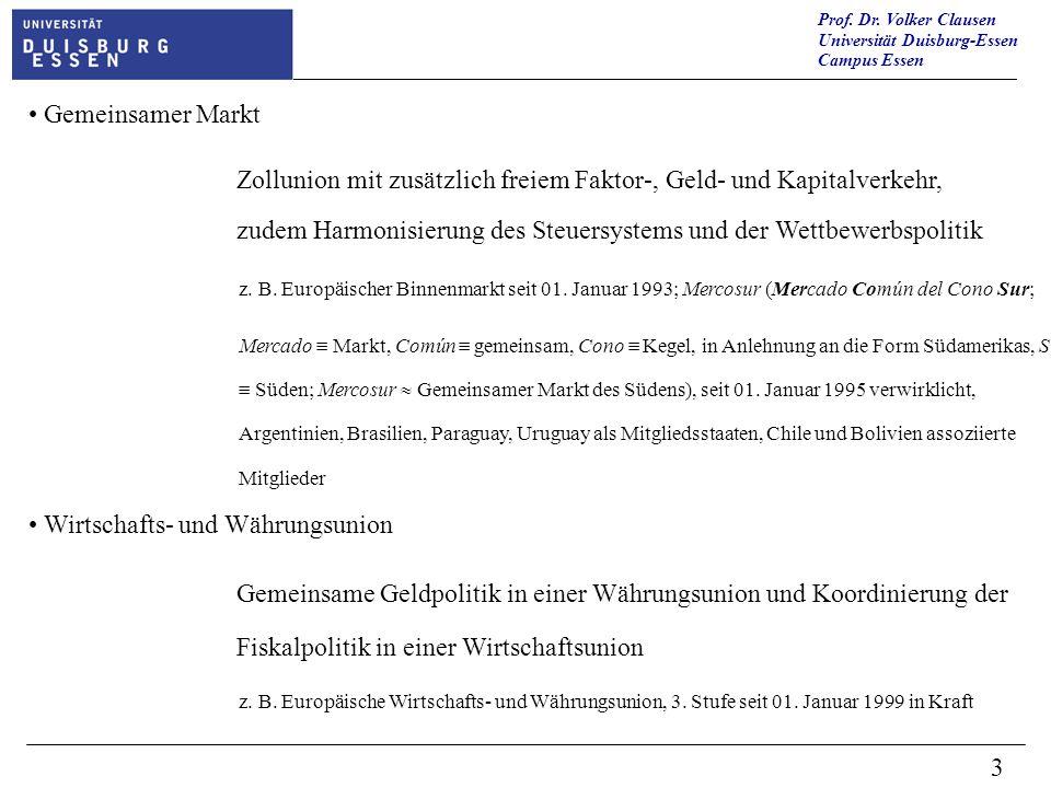 Prof. Dr. Volker Clausen Universität Duisburg-Essen Campus Essen 3 Gemeinsamer Markt Zollunion mit zusätzlich freiem Faktor-, Geld- und Kapitalverkehr