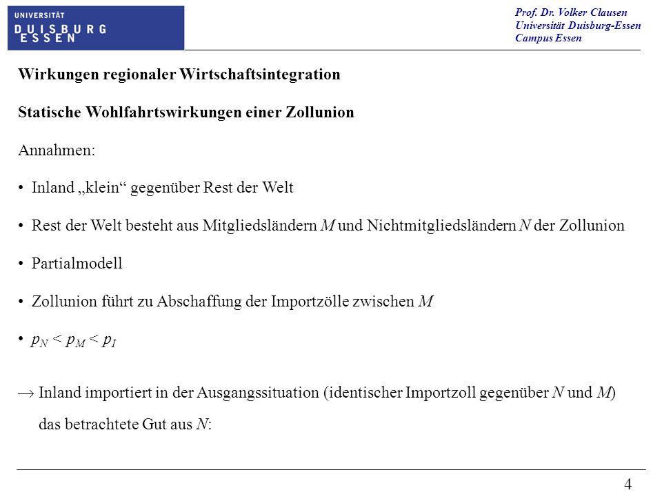 Prof. Dr. Volker Clausen Universität Duisburg-Essen Campus Essen 4 Wirkungen regionaler Wirtschaftsintegration Statische Wohlfahrtswirkungen einer Zol