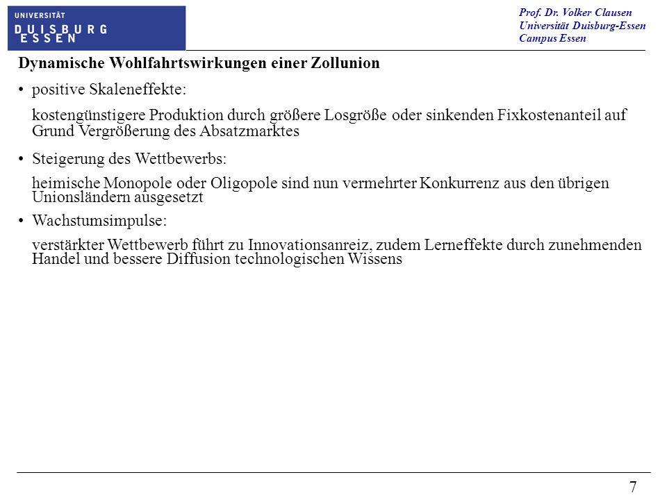 Prof. Dr. Volker Clausen Universität Duisburg-Essen Campus Essen 7 Dynamische Wohlfahrtswirkungen einer Zollunion positive Skaleneffekte: kostengünsti