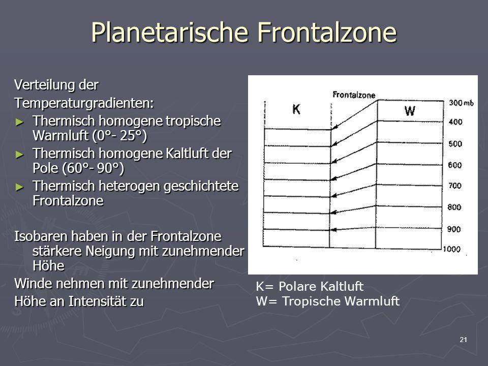 21 Planetarische Frontalzone Verteilung der Temperaturgradienten: ► Thermisch homogene tropische Warmluft (0°- 25°) ► Thermisch homogene Kaltluft der