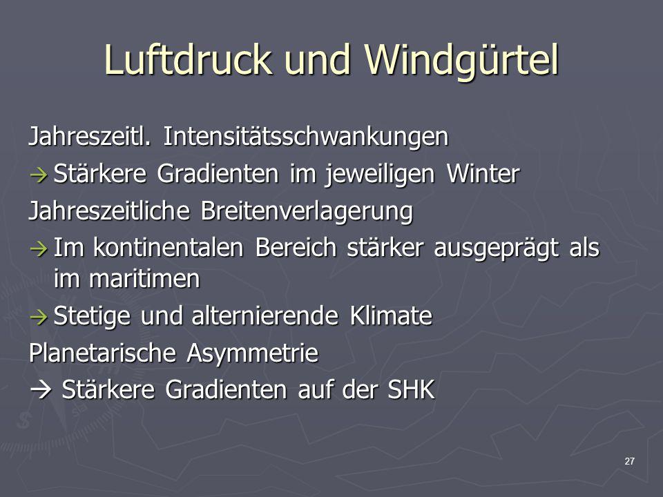 27 Luftdruck und Windgürtel Jahreszeitl. Intensitätsschwankungen  Stärkere Gradienten im jeweiligen Winter Jahreszeitliche Breitenverlagerung  Im ko