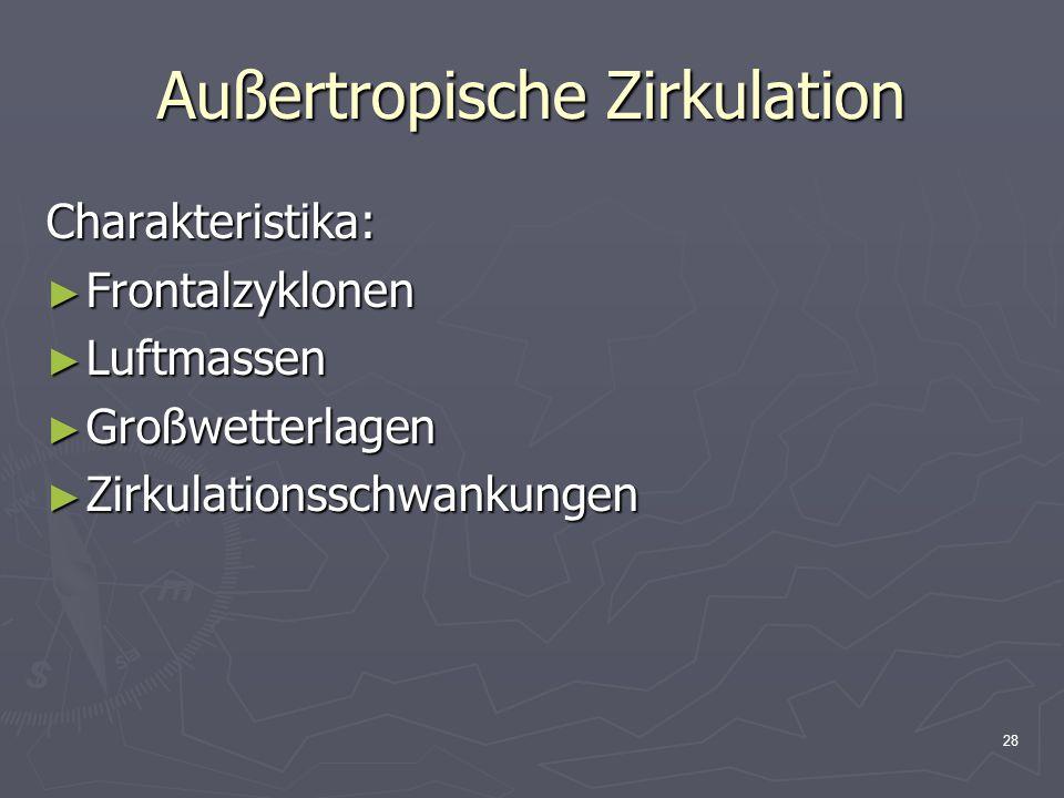 28 Außertropische Zirkulation Charakteristika: ► Frontalzyklonen ► Luftmassen ► Großwetterlagen ► Zirkulationsschwankungen