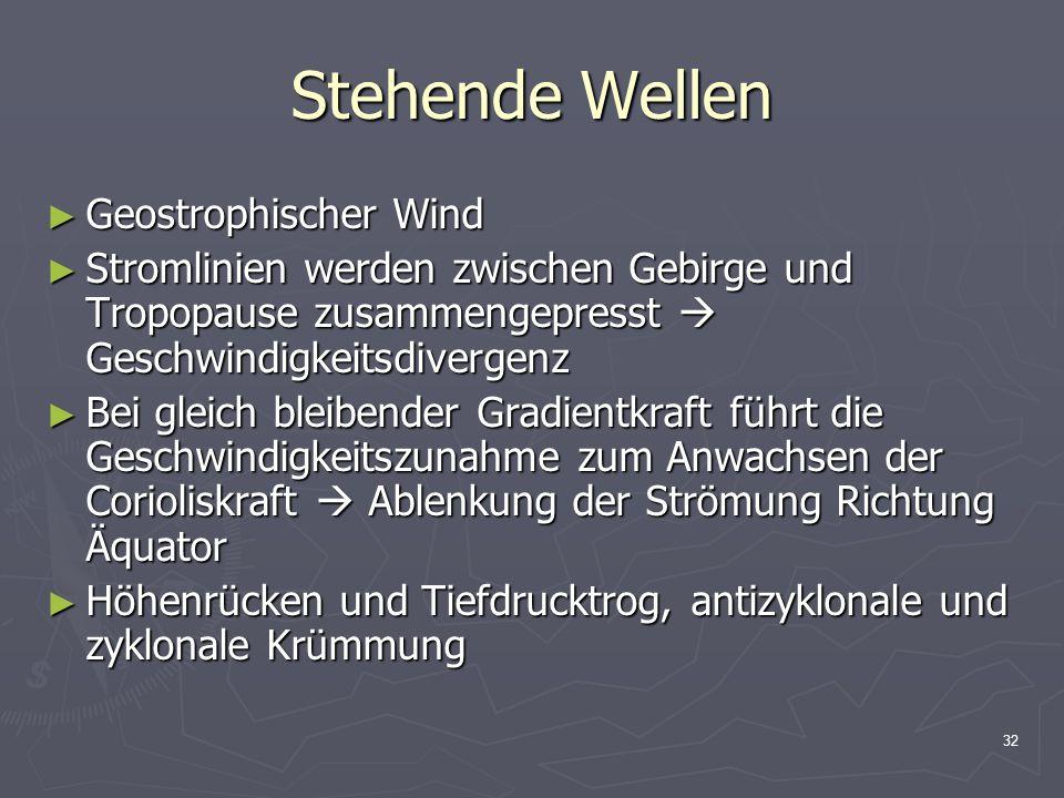 32 Stehende Wellen ► Geostrophischer Wind ► Stromlinien werden zwischen Gebirge und Tropopause zusammengepresst  Geschwindigkeitsdivergenz ► Bei glei