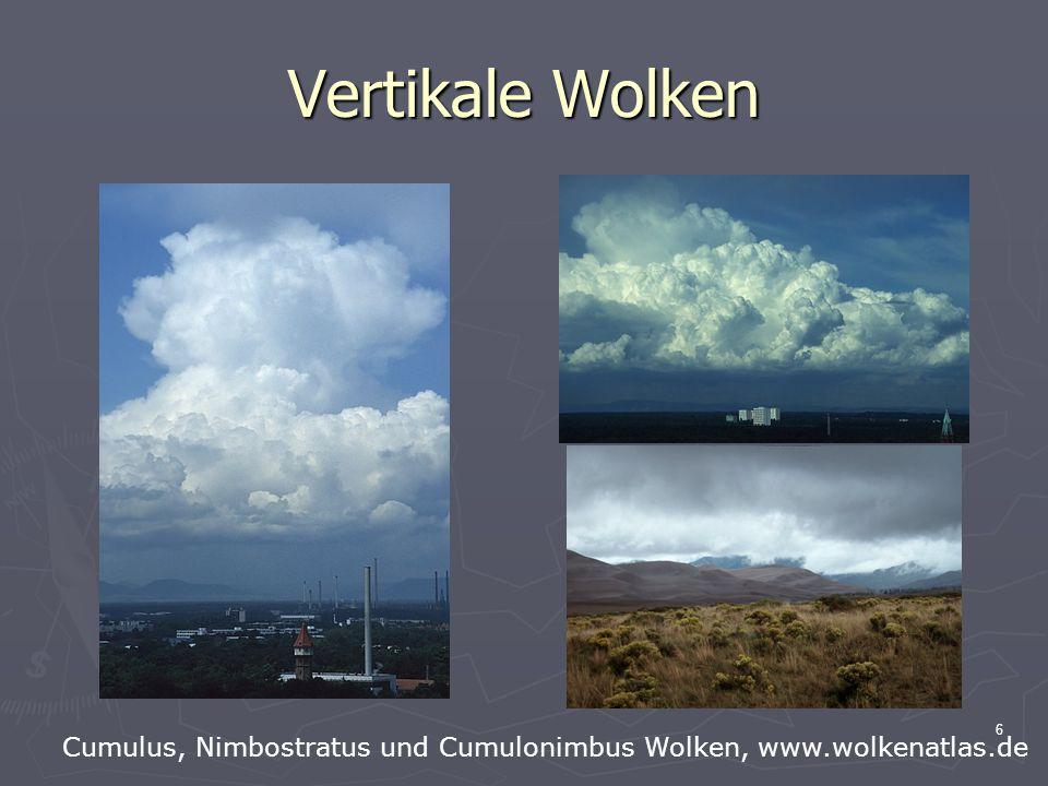 6 Vertikale Wolken Cumulus, Nimbostratus und Cumulonimbus Wolken, www.wolkenatlas.de