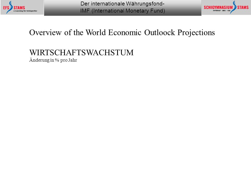 Der internationale Währungsfond- IMF (International Monetary Fund) he (c) 1 Monitoring the financial world 3 Overview of the World Economic Outloock P