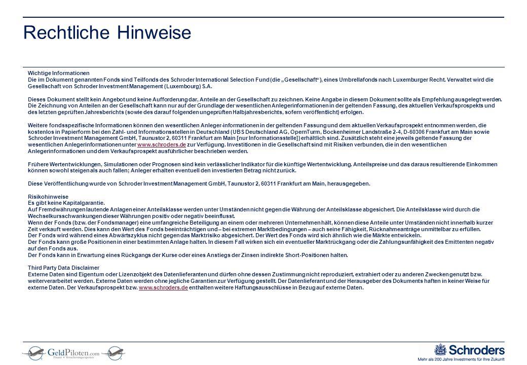 """** Remove from final presentation ** Rechtliche Hinweise Wichtige Informationen Die im Dokument genannten Fonds sind Teilfonds des Schroder International Selection Fund (die """"Gesellschaft ), eines Umbrellafonds nach Luxemburger Recht."""