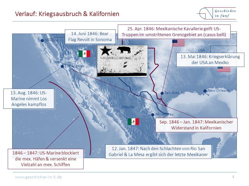 www.geschichte-in-5.de Verlauf: Kriegsausbruch & Kalifornien 4 Mexico CIty San Antonio Monterrey Mexiko USA Umstritten zw.