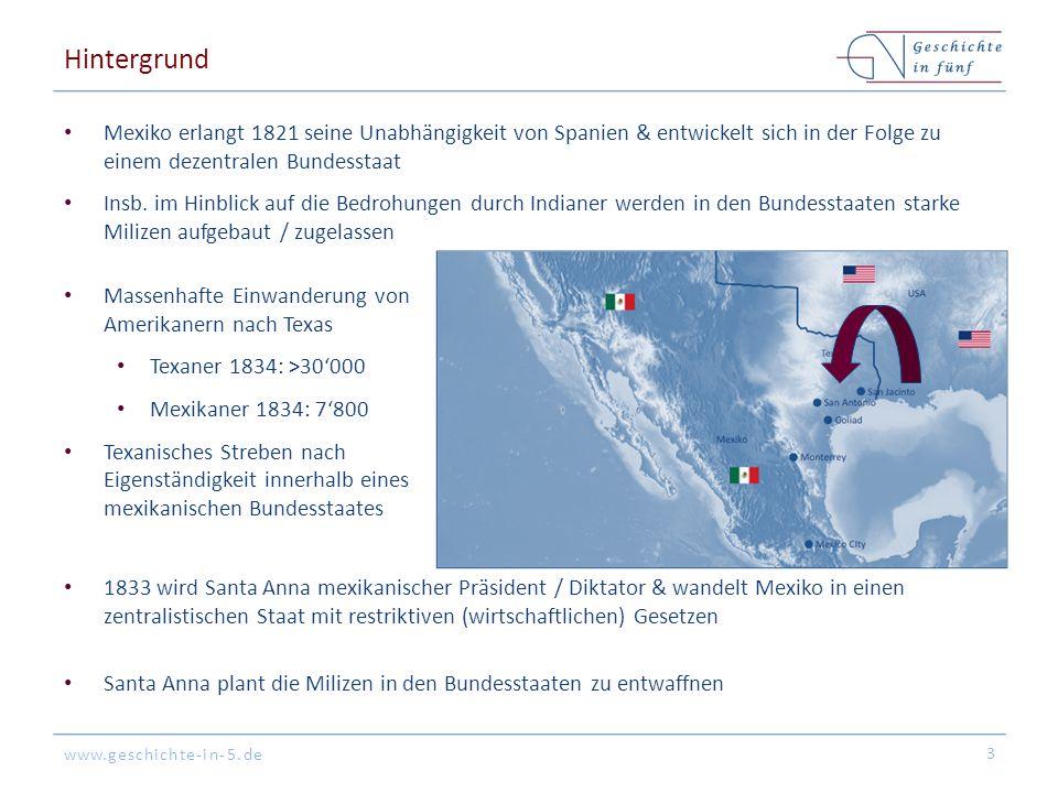www.geschichte-in-5.de Hintergrund Mexiko erlangt 1821 seine Unabhängigkeit von Spanien & entwickelt sich in der Folge zu einem dezentralen Bundesstaa
