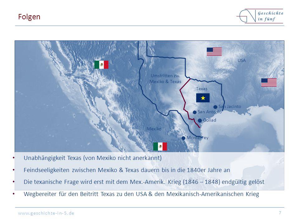 www.geschichte-in-5.de Folgen 7 Mexico CIty San Antonio Monterrey Mexiko USA Texas Umstritten zw. Mexiko & Texas San Jacinto Goliad Unabhängigkeit Tex