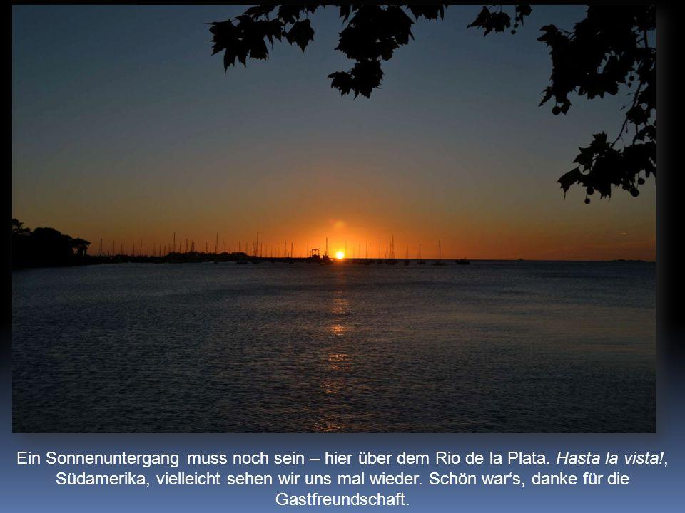 Ein Sonnenuntergang muss noch sein – hier über dem Rio de la Plata.