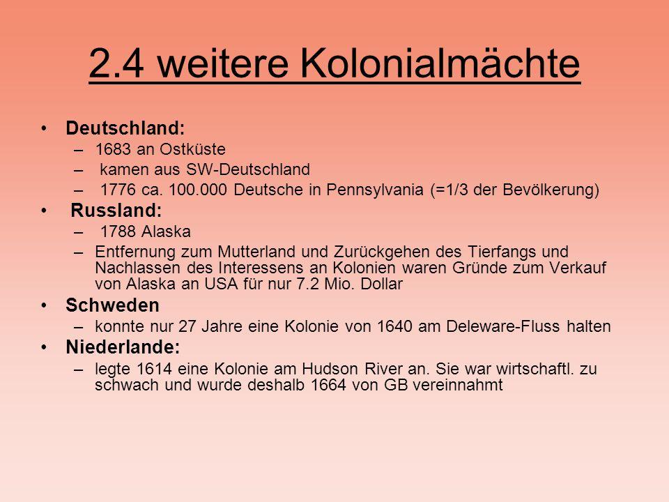 2.4 weitere Kolonialmächte Deutschland: –1683 an Ostküste – kamen aus SW-Deutschland – 1776 ca.