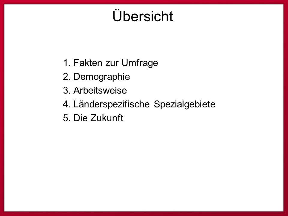 Übersicht 1. Fakten zur Umfrage 2. Demographie 3. Arbeitsweise 4. Länderspezifische Spezialgebiete 5. Die Zukunft
