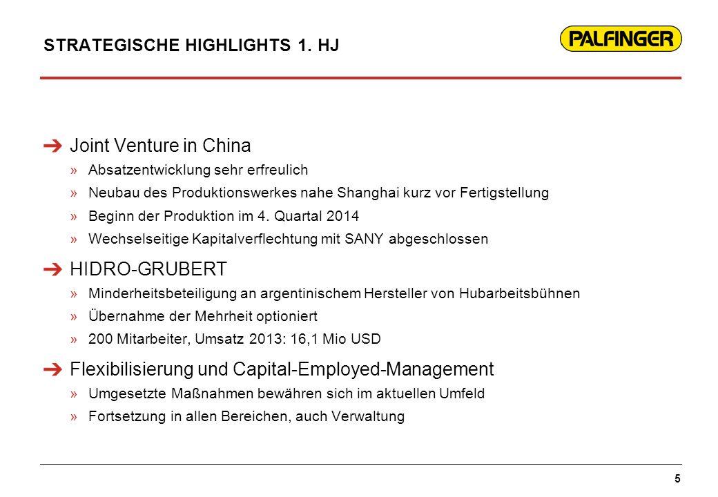 STRATEGISCHE HIGHLIGHTS 1. HJ Joint Venture in China »Absatzentwicklung sehr erfreulich »Neubau des Produktionswerkes nahe Shanghai kurz vor Fertigste