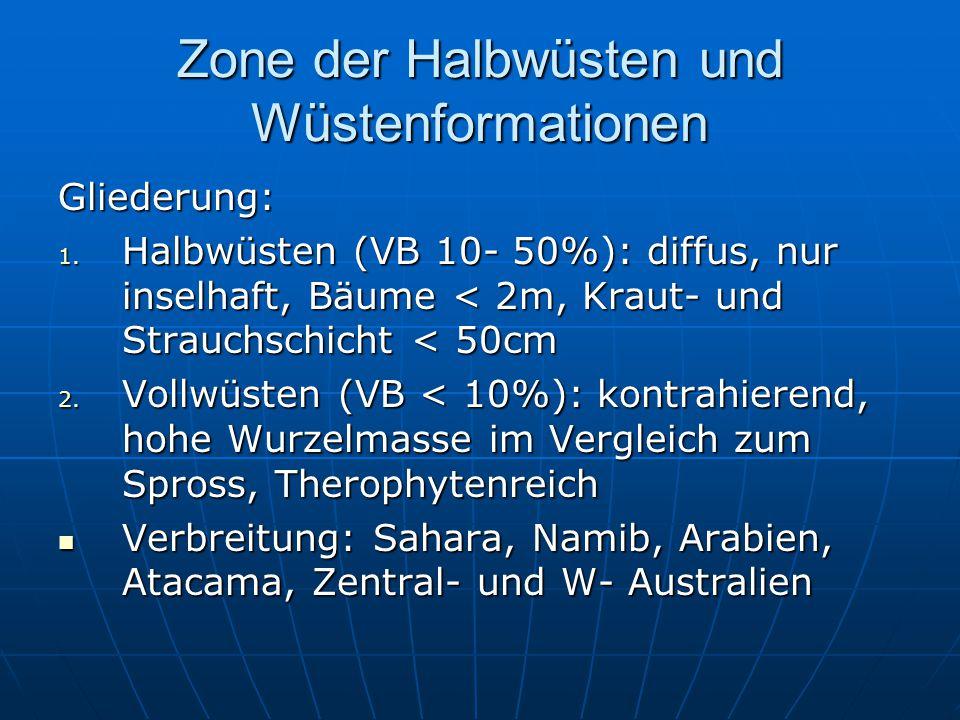 Zone der Halbwüsten und Wüstenformationen Gliederung: 1. Halbwüsten (VB 10- 50%): diffus, nur inselhaft, Bäume < 2m, Kraut- und Strauchschicht < 50cm