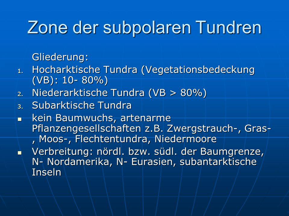 Zone der subpolaren Tundren Gliederung: 1. Hocharktische Tundra (Vegetationsbedeckung (VB): 10- 80%) 2. Niederarktische Tundra (VB > 80%) 3. Subarktis
