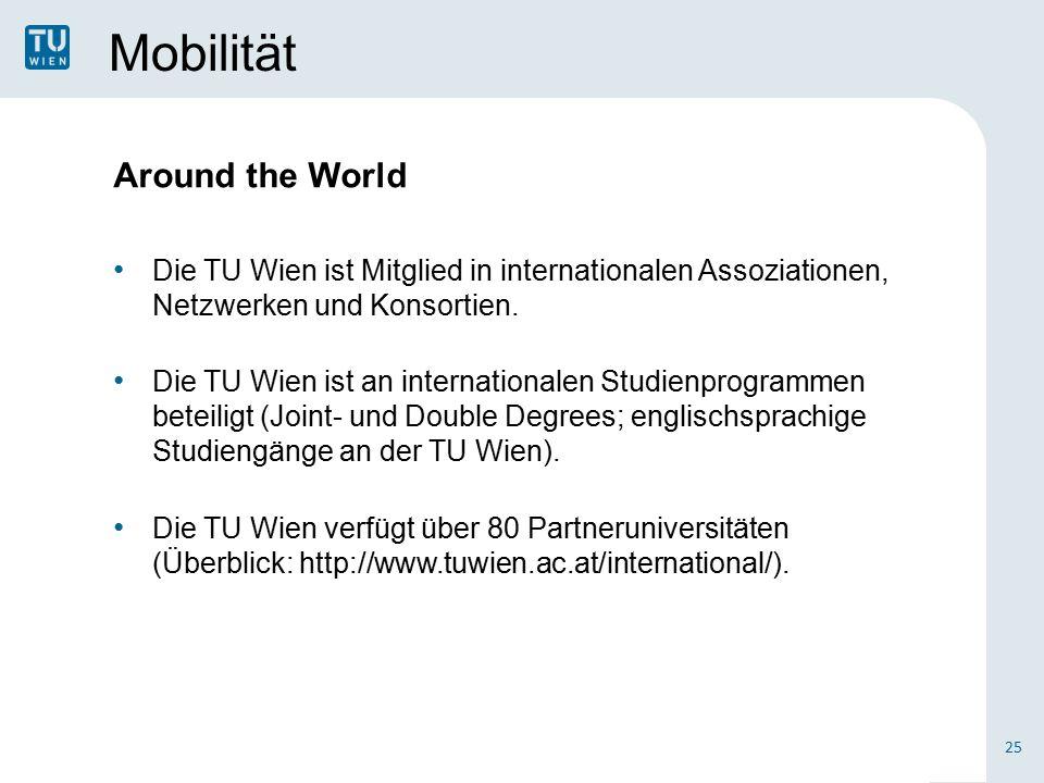Mobilität 25 Around the World Die TU Wien ist Mitglied in internationalen Assoziationen, Netzwerken und Konsortien.