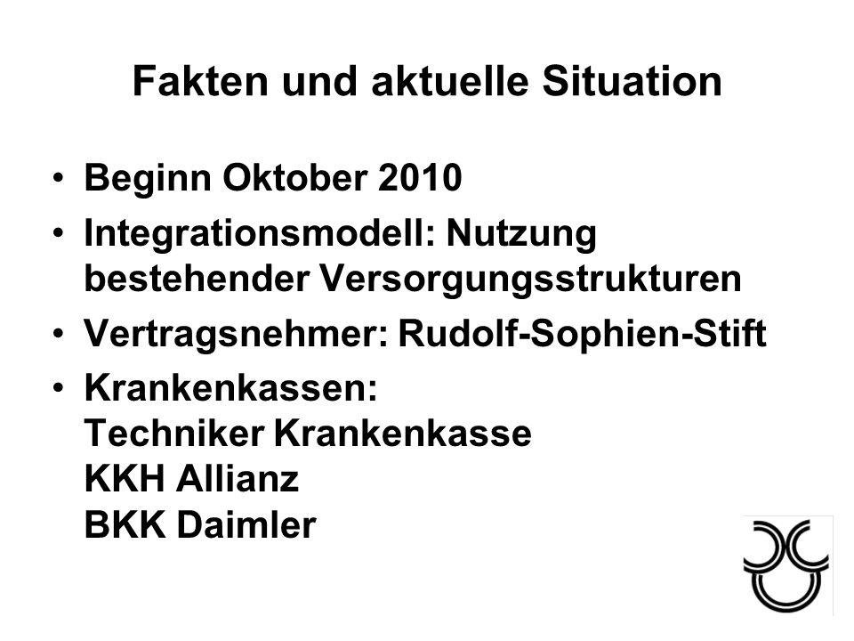 Fakten und aktuelle Situation Beginn Oktober 2010 Integrationsmodell: Nutzung bestehender Versorgungsstrukturen Vertragsnehmer: Rudolf-Sophien-Stift K