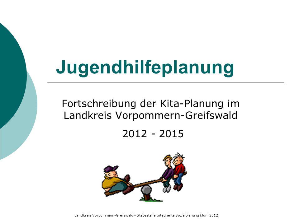 Landkreis Vorpommern-Greifswald - Stabsstelle Integrierte Sozialplanung (Juni 2012) Fortschreibung der Kita-Planung im Landkreis Vorpommern-Greifswald