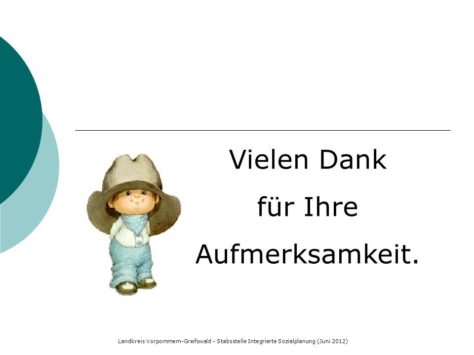 Landkreis Vorpommern-Greifswald - Stabsstelle Integrierte Sozialplanung (Juni 2012) Vielen Dank für Ihre Aufmerksamkeit.