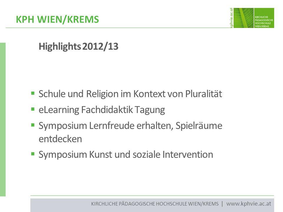 KIRCHLICHE PÄDAGOGISCHE HOCHSCHULE WIEN/KREMS | www.kphvie.ac.at Highlights 2012/13  Schule und Religion im Kontext von Pluralität  eLearning Fachdi