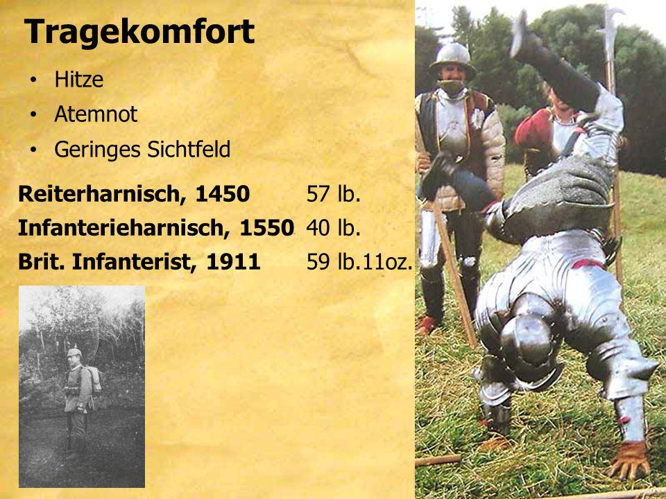Tragekomfort Hitze Atemnot Geringes Sichtfeld Reiterharnisch, 145057 lb. Infanterieharnisch, 155040 lb. Brit. Infanterist, 191159 lb.11oz.