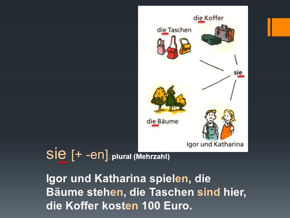 sie [+ -en] : plural (Mehrzahl) Igor und Katharina spielen, die Bäume stehen, die Taschen sind hier, die Koffer kosten 100 Euro.