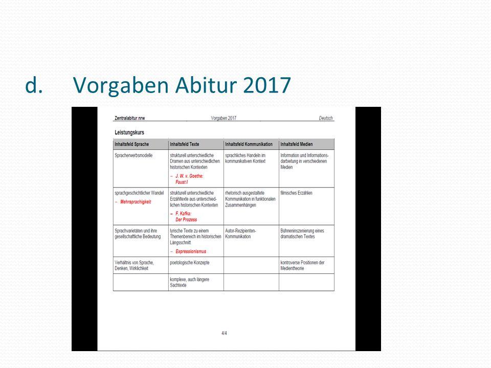 d. Vorgaben Abitur 2017