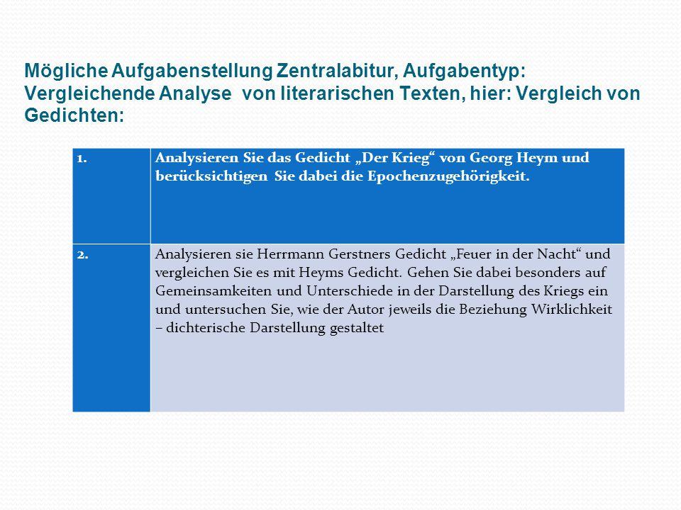 Mögliche Aufgabenstellung Zentralabitur, Aufgabentyp: Vergleichende Analyse von literarischen Texten, hier: Vergleich von Gedichten: 1. Analysieren Si
