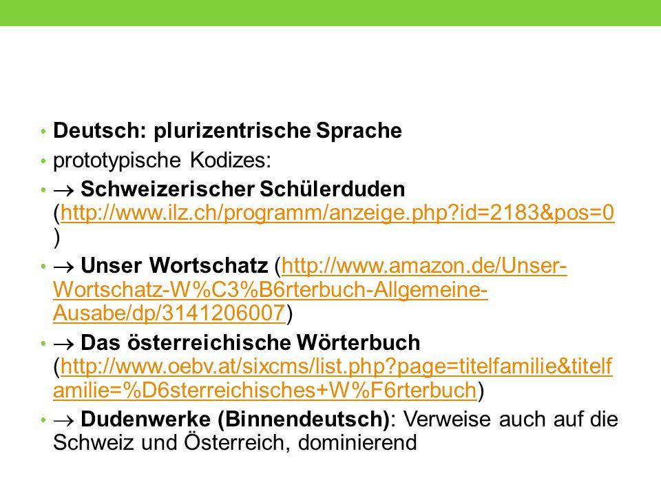 Deutsch: plurizentrische Sprache prototypische Kodizes:  Schweizerischer Schülerduden (http://www.ilz.ch/programm/anzeige.php?id=2183&pos=0 )http://w