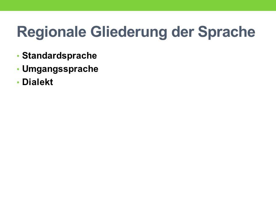 Regionale Gliederung der Sprache Standardsprache Umgangssprache Dialekt
