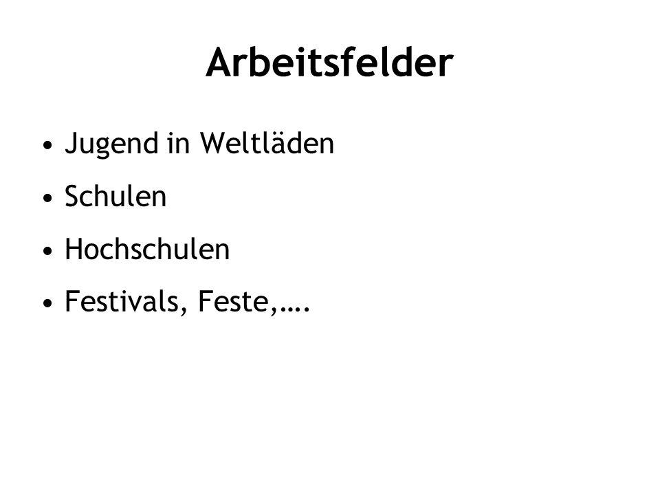 Arbeitsfelder Jugend in Weltläden Schulen Hochschulen Festivals, Feste,….