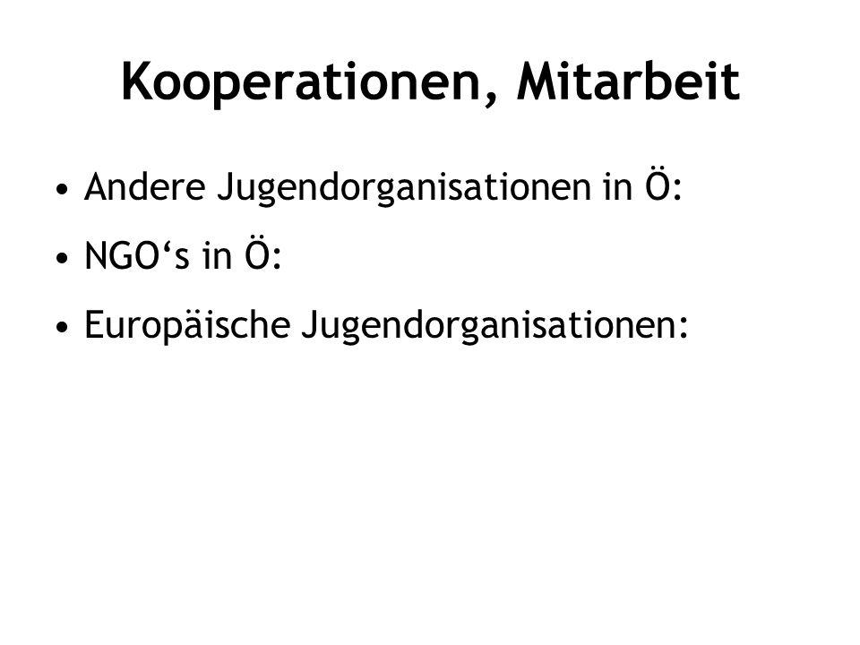 Kooperationen, Mitarbeit Andere Jugendorganisationen in Ö: NGO's in Ö: Europäische Jugendorganisationen: